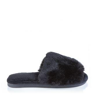 Fur Παντόφλα Μαύρη